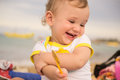 Cute baby laughs Royalty Free Stock Photo