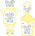 Cute Baby Layette with mouse and butterfly Royalty Free Stock Photo