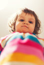 Cute baby looking down girl low view point Royalty Free Stock Image