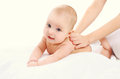 Cute baby massage back, child and health Royalty Free Stock Photo