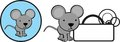 Cute baby mouse cartoon copyspace sticker Royalty Free Stock Photo