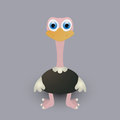 Cute baby ostrich cartoon graphic art Royalty Free Stock Photography
