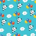 Cute baby panda bears, clouds, balloons, sky pattern Royalty Free Stock Photo