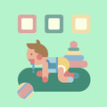 Cute baby playing geometry flat illustration