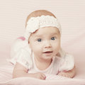 Cute baby portrait happy with big eyes Stock Photo
