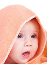 Cute baby portrait with his head covered Royalty Free Stock Photo