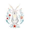 Cute baby rabbit animal for kindergarten, nursery isolated illu