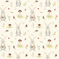 Cute baby rabbit animal seamless pattern for kindergarten, nursery isolated illustration for children clothing