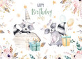 Cute baby raccon nursery animal isolated illustration for children. Bohemian watercolor boho forest raccons drawing