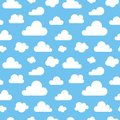 Cute baby seamless pattern with blue sky with white clouds flat icons. Cloud symbols background for kids fabric, nursery