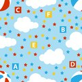 Cute baby seamless pattern with stars, cubes, beach ball, clouds, rainbow. Seamless watercolor clouds and stars pattern. Vector