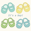 Cute baby shower card with baby shoes as retro fabric applique in shabby chic style