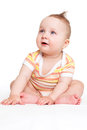 Cute baby sitting isolated. Royalty Free Stock Photo