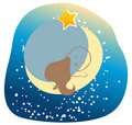 Cute baby sleeping on the moon Royalty Free Stock Image