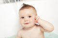 Cute baby taking a bath Royalty Free Stock Images