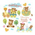 Cute baby teddy bear or toddler boy vector illustration clipart