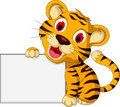 Cute baby tiger with blank sign illustration of Royalty Free Stock Image