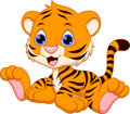 Cute baby tiger cartoon Royalty Free Stock Photo