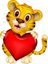 Cute baby tiger posing with heart love illustration of Stock Photography