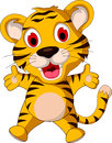 Cute baby tiger posing illustration of Stock Photo