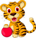 Cute baby tiger posing with pink ball illustration of Royalty Free Stock Image