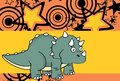 Cute baby triceratops cartoon expressions background2 Royalty Free Stock Photo