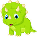 Cute baby triceratops cartoon illustration of Royalty Free Stock Photography
