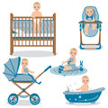 Cute Baby in Various Position Set. Royalty Free Stock Photo