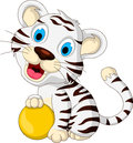 Cute baby white tiger posing with yellow ball illustration of Stock Photos