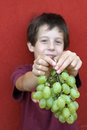 Cute baby who kindly offers grapes a bunch of white Stock Photos