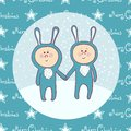 Cute babys in rabbit costume christmas masquerade Royalty Free Stock Photo