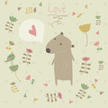 Cute background with bear and flowers in cartoon style valentine card Royalty Free Stock Photos