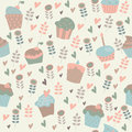 Cute background with cupcakes seamless flowers and in cartoon style Royalty Free Stock Photo