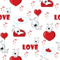 Cute background with dogs and hearts for Valentine's Day, seamless pattern