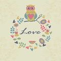 Cute background floral frame with owl Stock Images
