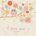 Cute background floral with funny owl Stock Photography