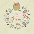 Cute background floral with owl Royalty Free Stock Photography