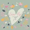 Cute background with flowers heart and birds in cartoon style valentine card Stock Photos