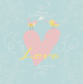 Cute background with heart and birds flowers in cartoon style valentine card Stock Photo