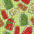 Cute background with homemade pickles Stock Images