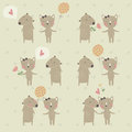 Cute background with loving bear and cat valentine card Stock Image
