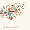 Cute background with owl autumn and flowers in cartoon style Royalty Free Stock Images