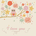 Cute background with owl flowers and in cartoon style Royalty Free Stock Photography