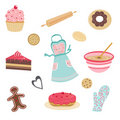 Cute bakery and kitchen set Stock Photo