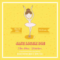 Cute Balerina Card - for Baby Shower Royalty Free Stock Photo