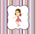 Cute ballerina girl with label frame on a stripey background vector Royalty Free Stock Image