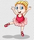 Cute ballerina on transparent background