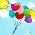 Cute balloons flying in the sky Stock Image