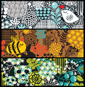 Cute banners with flowers birds skulls and bees vector artistic background Royalty Free Stock Image