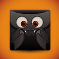 Cute Bat Face Glossy Button, Vector Illustration Royalty Free Stock Photo